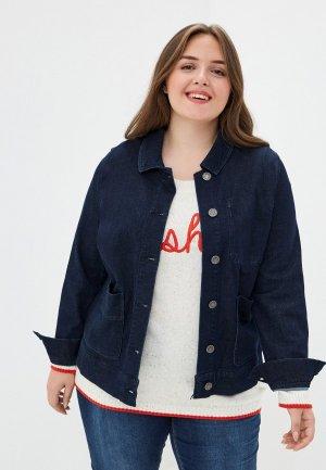 Куртка джинсовая Ulla Popken. Цвет: синий