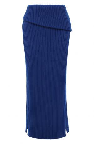 Шерстяная юбка-миди Jacquemus. Цвет: темно-синий