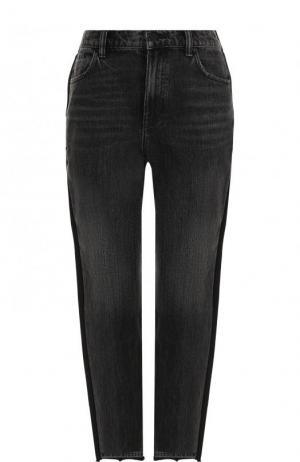 Укороченные джинсы с потертостями Denim X Alexander Wang. Цвет: темно-серый