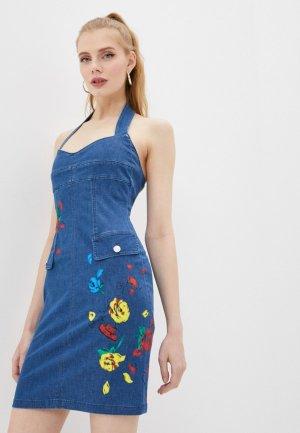 Платье джинсовое Love Moschino. Цвет: синий