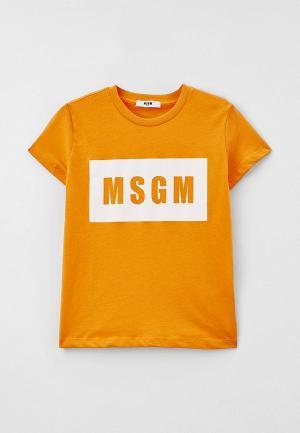 Футболка MSGM Kids. Цвет: оранжевый
