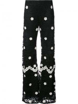 Широкие кружевные брюки Alexis. Цвет: чёрный