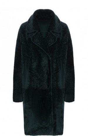 Меховое пальто с отложным воротником DROMe. Цвет: темно-зеленый