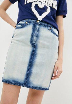 Юбка джинсовая Love Moschino. Цвет: голубой