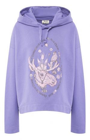 Хлопковый пуловер с капюшоном Acne Studios. Цвет: фиолетовый