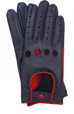 Кожаные перчатки с контрастной прострочкой Agnelle. Цвет: синий