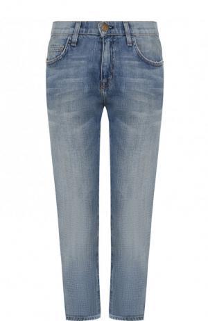 Укороченные джинсы с потертостями Current/Elliott. Цвет: синий