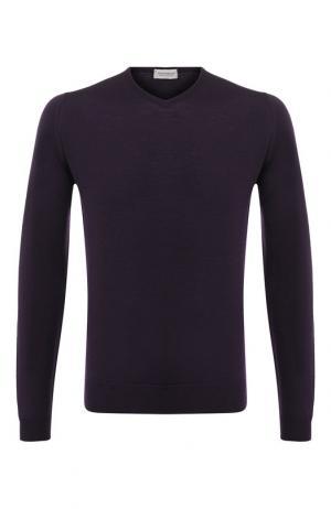 Пуловер из шерсти тонкой вязки John Smedley. Цвет: фиолетовый