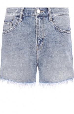 Джинсовые шорты с потертостями и бахромой Current/Elliott. Цвет: голубой