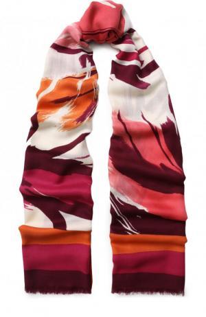 Шаль из смеси кашемира и шелка с принтом Loro Piana. Цвет: розовый