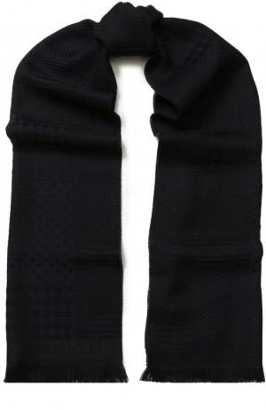 Шерстяной шарф с бахромой Canali. Цвет: темно-синий