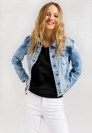Куртка джинсовая Finn Flare. Цвет: голубой