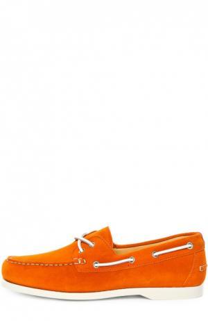 Замшевые топсайдеры с контрастным шнурком Kiton. Цвет: оранжевый