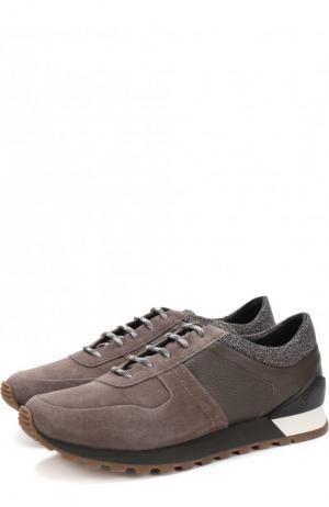 Комбинированные кроссовки на шнуровке Kiton. Цвет: бежевый