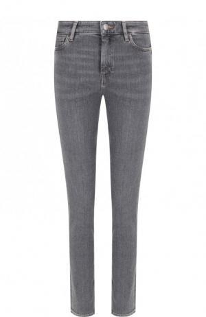 Укороченные джинсы с потертостями MiH Jeans. Цвет: серый