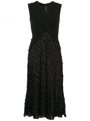 Платье длины миди с мелкой бахромой Yigal Azrouel. Цвет: чёрный
