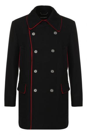 Шерстяной бушлат с контрастной отделкой Dolce & Gabbana. Цвет: черный