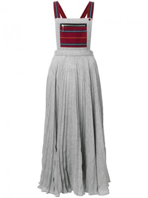 Плиссированная юбка на подтяжках Marco De Vincenzo. Цвет: серый