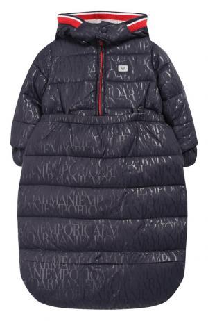 Утепленный конверт из куртки и подстежки Emporio Armani. Цвет: синий