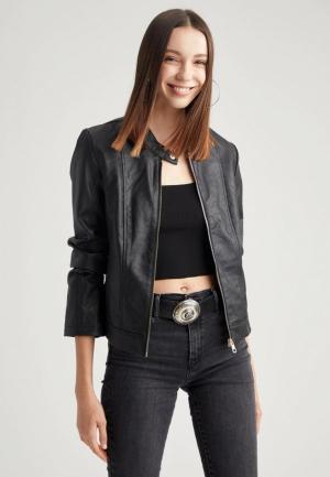 Куртка кожаная DeFacto. Цвет: черный