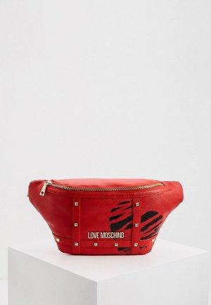 Сумка поясная Love Moschino. Цвет: красный