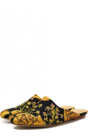 Текстильные сабо с вышивкой Dries Van Noten. Цвет: разноцветный