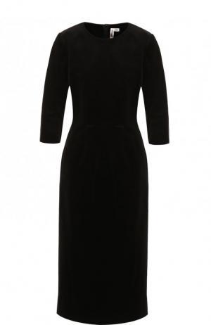 Приталенное хлопковое платье-миди Comme des Garcons. Цвет: черный