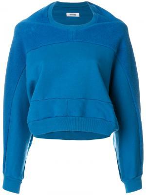 Укороченный фактурный свитер Marios. Цвет: синий