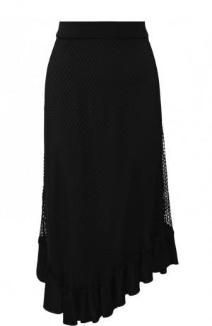Однотонная юбка-миди в сетку Altuzarra. Цвет: черный