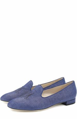 Слиперы из денима с вышивкой Giorgio Armani. Цвет: синий
