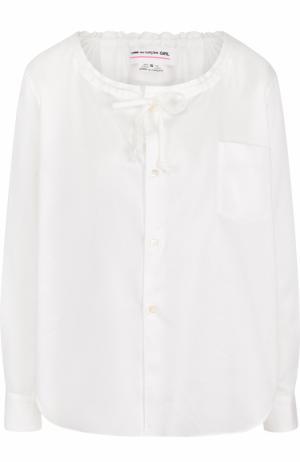 Хлопковая блуза с круглым вырезом Comme des Garcons GIRL. Цвет: белый