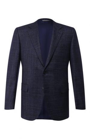 Пиджак из смеси шерсти и шелка Canali. Цвет: темно-синий