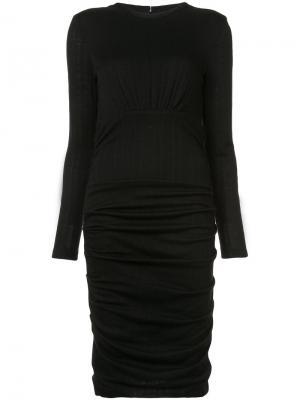 Платье с присборенной юбкой Yigal Azrouel. Цвет: чёрный