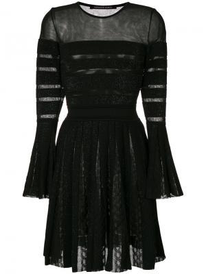 Платье в полоску с плиссировкой Antonino Valenti. Цвет: чёрный