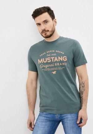 Футболка Mustang. Цвет: бирюзовый