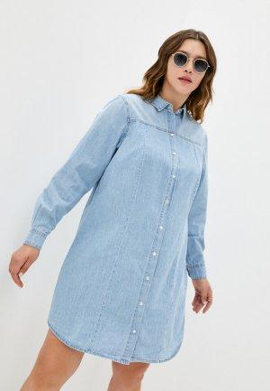 Платье джинсовое Zizzi. Цвет: голубой