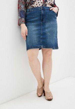 Юбка джинсовая Vero Moda Curve. Цвет: синий