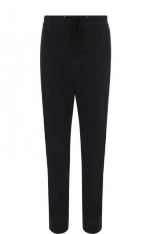 Хлопковые брюки прямого кроя James Perse. Цвет: темно-синий