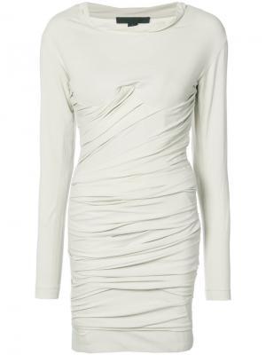 Короткое платье-бюстье со сборками Alexander Wang. Цвет: телесный