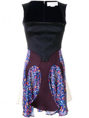 Платье с корсетом и панельным дизайном Esteban Cortazar. Цвет: синий