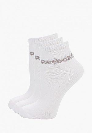 Носки 3 пары Reebok. Цвет: белый