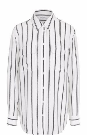 Шелковая блуза прямого кроя в полоску Equipment. Цвет: белый