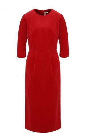 Приталенное хлопковое платье-миди Comme des Garcons. Цвет: красный