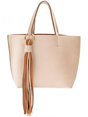 Большая сумка-тоут с бахромой Alila. Цвет: телесный