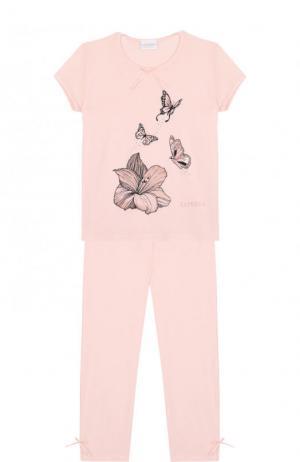 Пижама из вискозы с принтом La Perla. Цвет: розовый