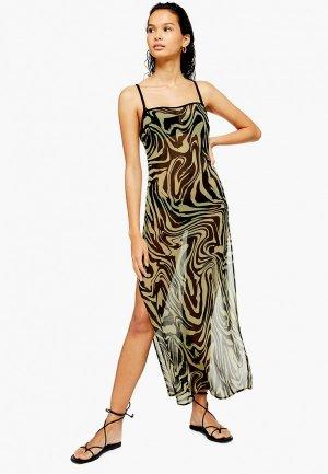 Платье пляжное Topshop. Цвет: хаки