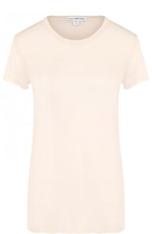 Однотонная хлопковая футболка с круглым вырезом James Perse. Цвет: бежевый