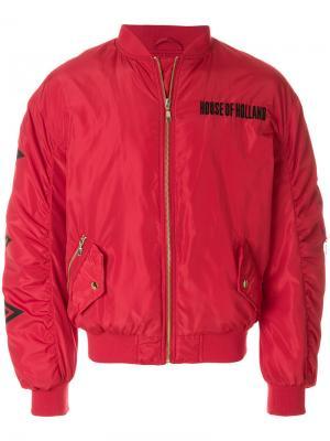 Стеганая куртка-бомбер House Of Holland. Цвет: красный