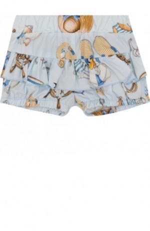 Хлопковые шорты с оборками Monnalisa. Цвет: голубой