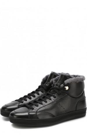 Высокие кожаные кеды на шнуровке с внутренней меховой отделкой Doucals Doucal's. Цвет: черный